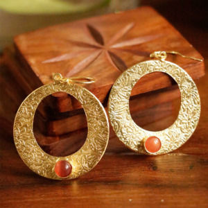 Designer Round Shape Earring with Peach Color Stone