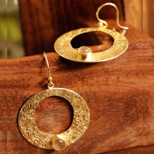 Designer Round Shape Earring with White Color Stone