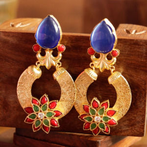 Floral Multicolor Stone Dangle Earring