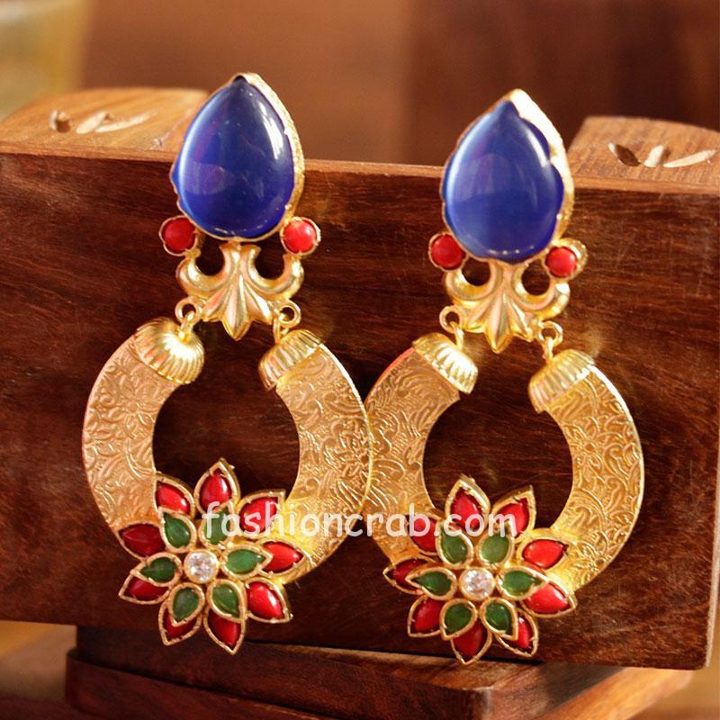 Floral Multicolor Stone Dangle Earring