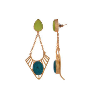 Green and Blue Color Stone Dangle Earring