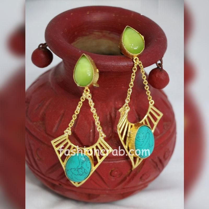 Green and Blue Color Stone Dangle Earring for Girls