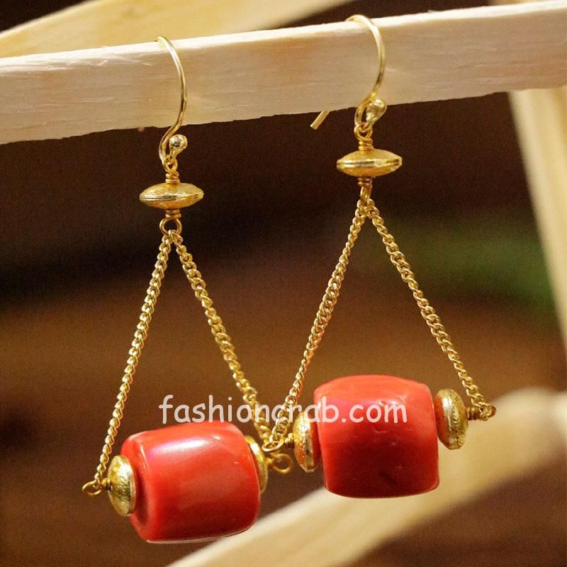 Natural Peach Color Stone Earring for Girls