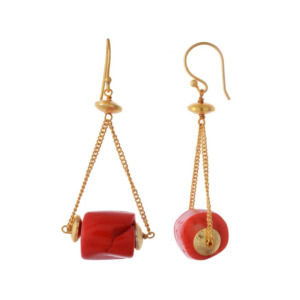 Peach Color Natural Stone Earring Set for Girls