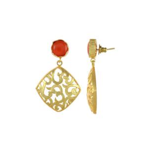 Red Earring Set with Golden Designer Frame