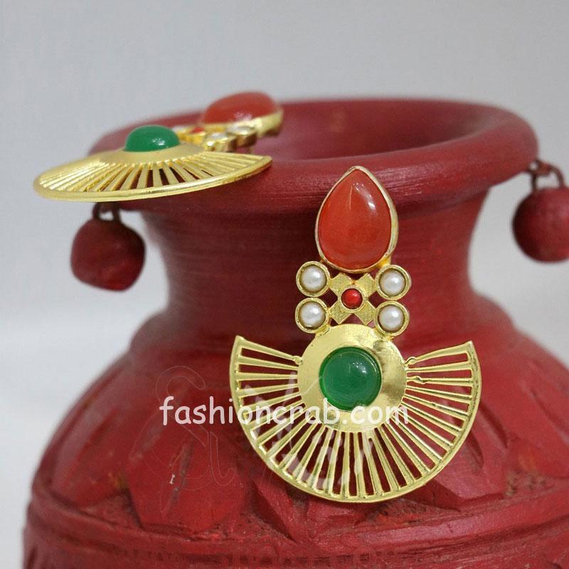Red and Green Designer Earring Set for Girls