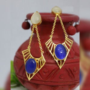 White and Blue Color Stone Dangle Earring for Girls