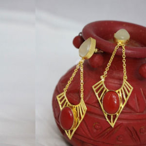 White and Red Color Stone Dangle Earring for Girls