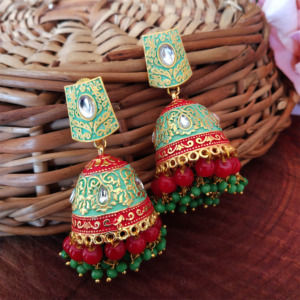 Green Jhumka with Red Pearl for Saree
