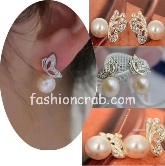 Pearl with Butterfly Ear Studs
