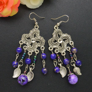 Purple Bead Color Dangle Earrings