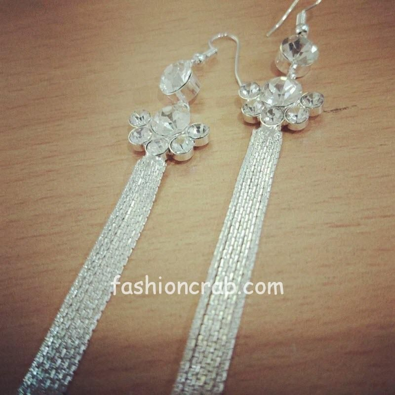 Silver Color Chain Drop Earring for Girls