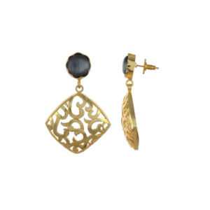 Black Earring Set with Golden Designer Frame