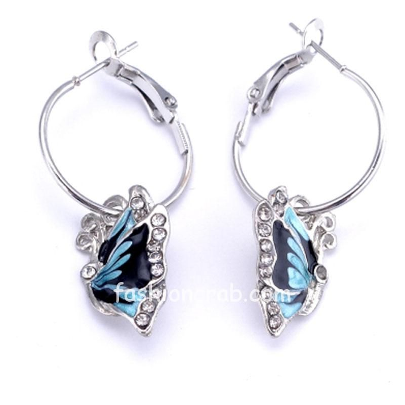Blue-Butterfly-Wild-Crystal-Hoop-Earrings-For-Women