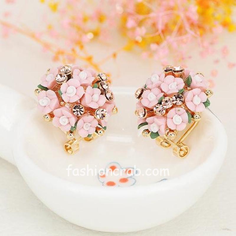 Cute Rhinestone Pink Flower Stud Earrings