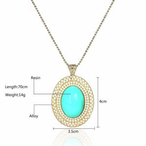 Light Green Color Oval Stone with Golden Chain