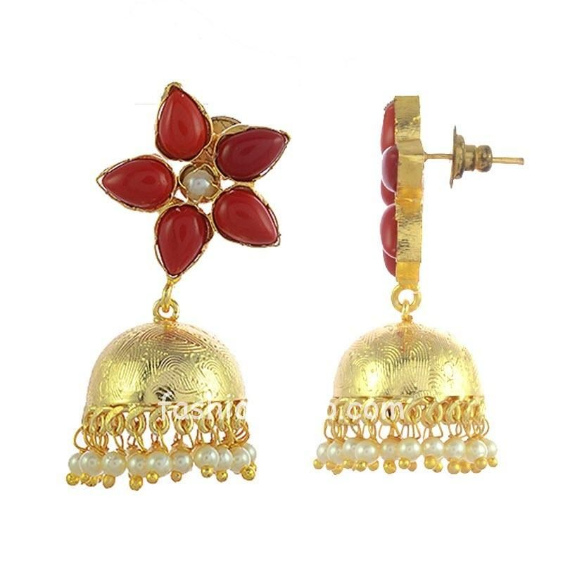 Red Color Stone Earring with Jhumka