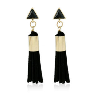 Black Vintage Triangle Tassel Drop Earrings
