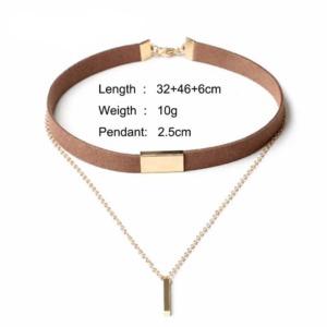 Brown Velvet Girls Choker Necklace