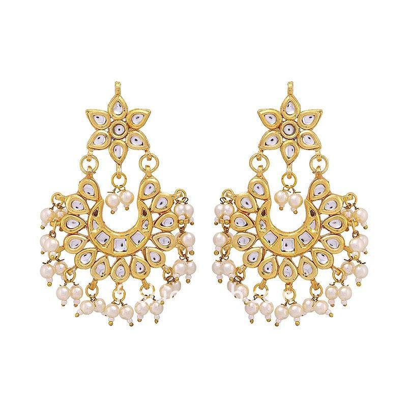 Kundan Women Earrings with Hanging Pearls