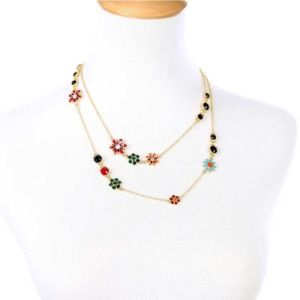 Multicolor Flowers Long Charming Necklace