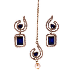 Blue Crystal Studded Earring with Maangtika