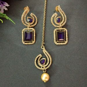 Blue Crystal Studded Golden Earring with Maangtika