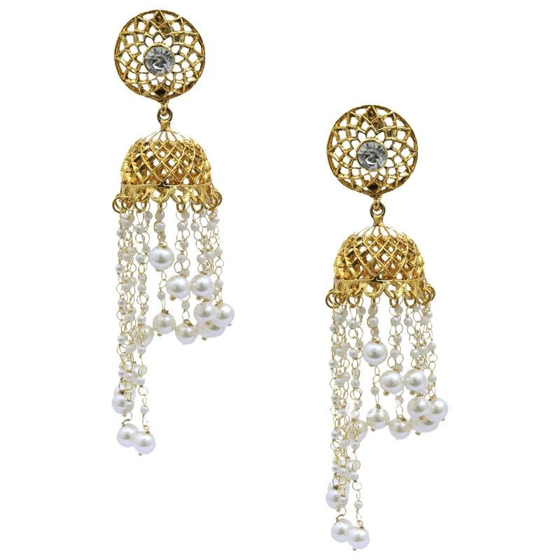 Golden Color Earring with Pearl Chain Drop