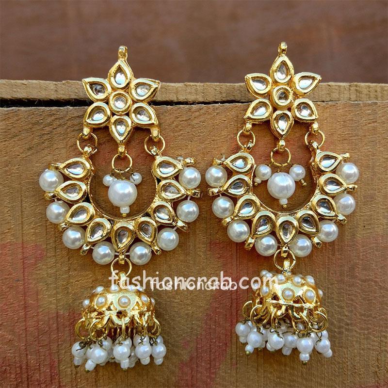 Kundan and Pearl Jhumka Drop Earring