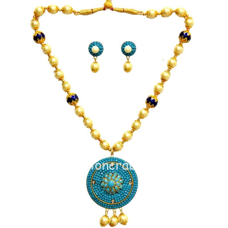Light Blue Pachi with Pearls Necklace Set