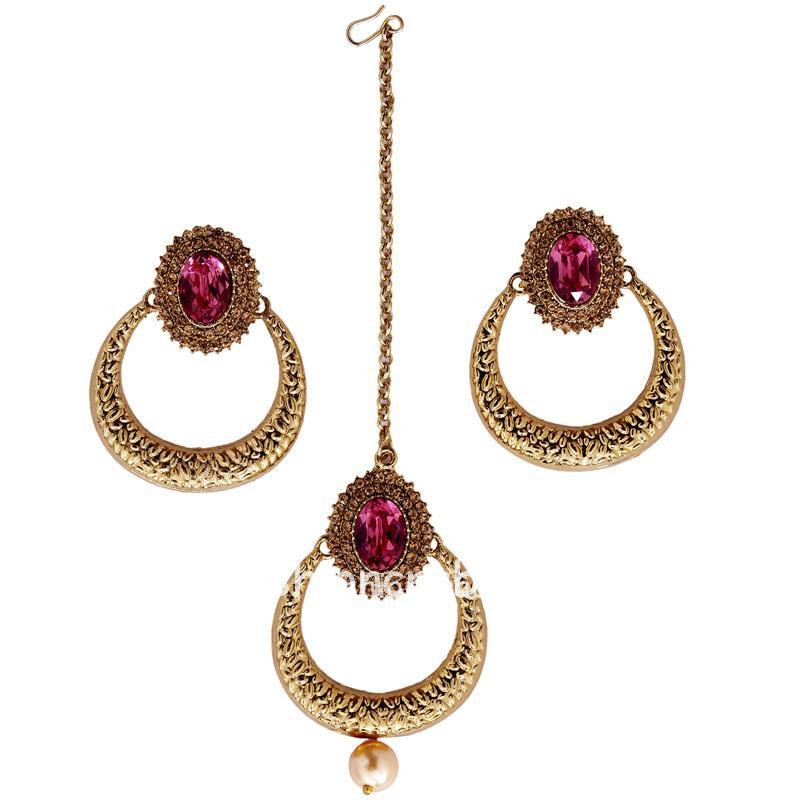 Pink Crystal Studded Earring with Maangtika
