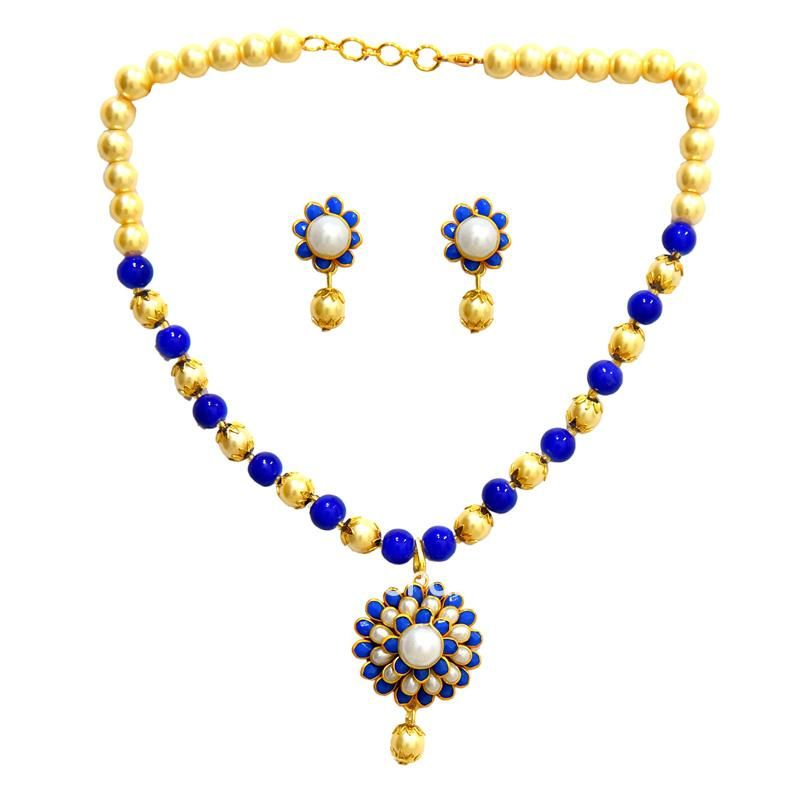 Royal Blue Pachi with Pearls Necklace Set