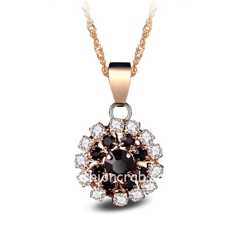 Black Crystal Flower Necklace with Earrings