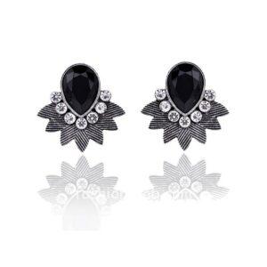 Black Crystal Stud Earring for Women