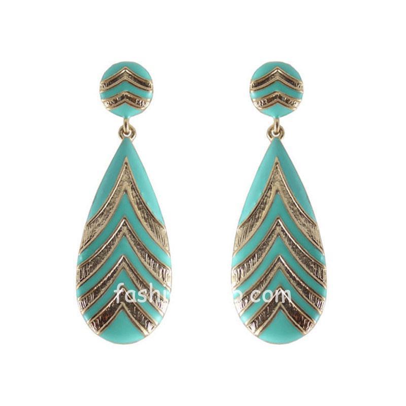 Caribbean Green Color Drop Earrings