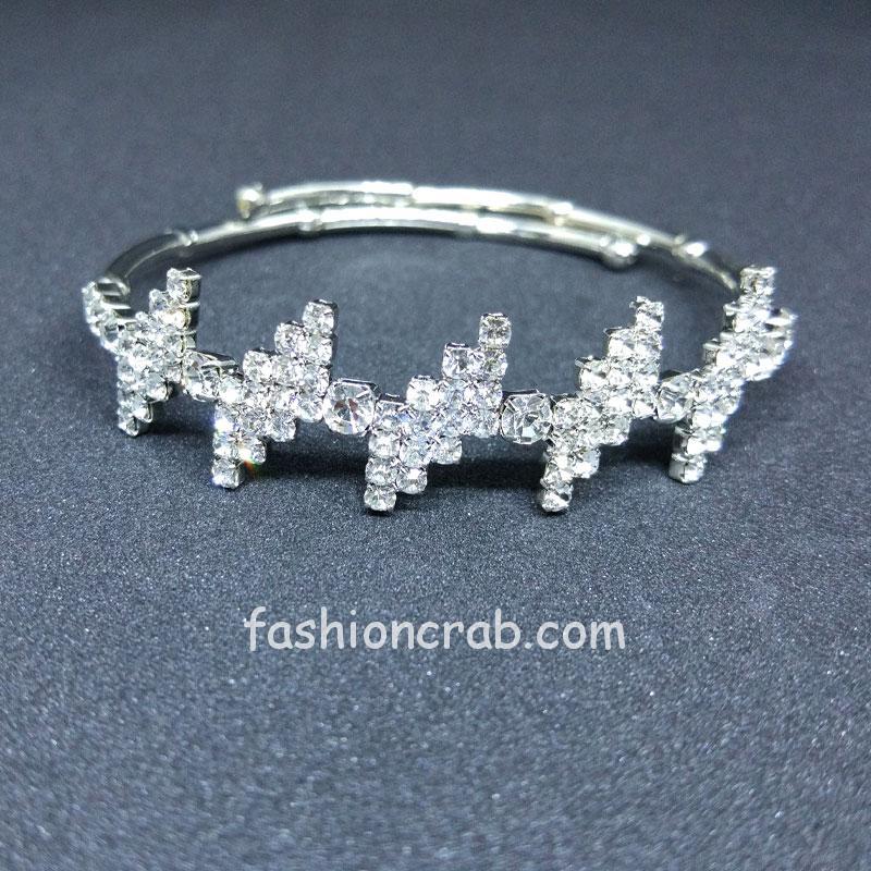 Designer Silver Color Rhinestone Bracelet