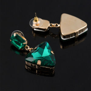 Green Crystal Rhinestone Drop Earring