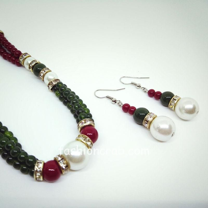 Green Red Pearl Mala with Earrings
