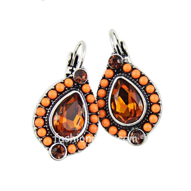 Orange Crystal Drop Earring with Beads
