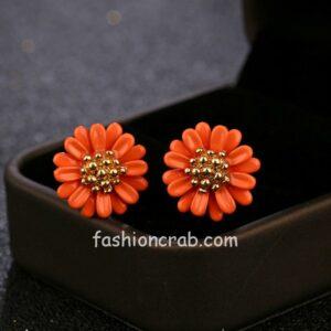 Orange Flower Stud Earrings for Girls-01