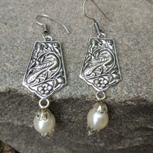 Oxidised Silver Earring with Pearl Drop