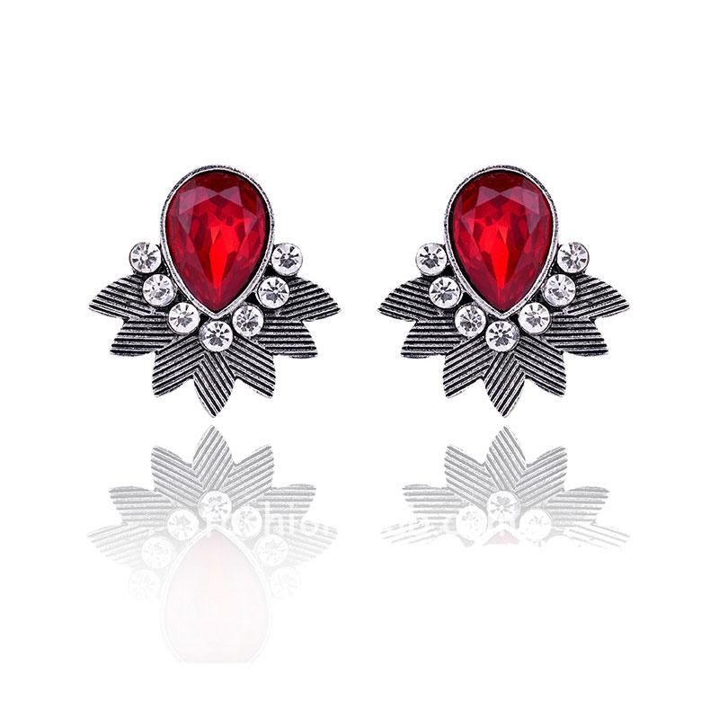 Red Crystal Stud Earring for Women