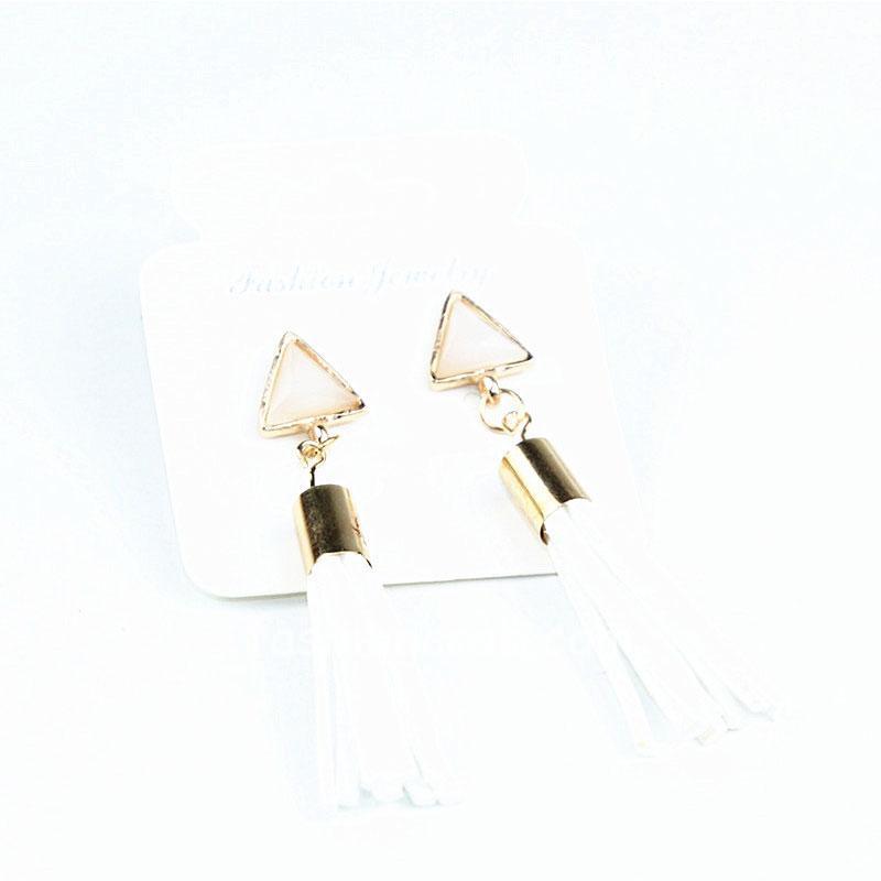 White Vintage Triangle Tassel Drop Earrings