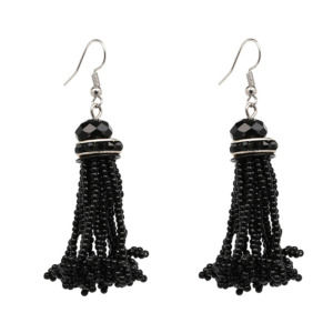 Black Beads Drop Earring for Women