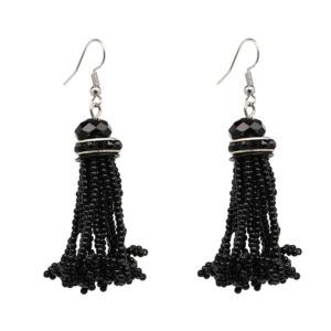 Black Beads Drop Earring for Women