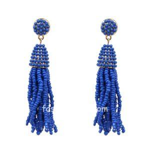 Blue Beads Handmade Tassel Earring