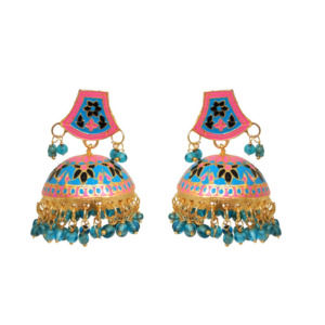 Blue Ethnic Meenakari Jhumka Earring
