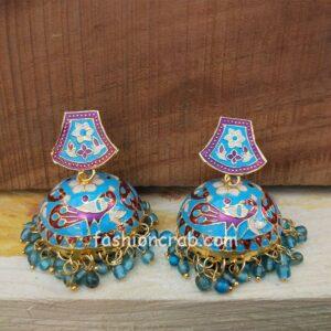 Blue Meenakari Peacock Jhumki Earring