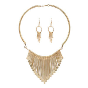 Golden Color Fashion Necklace Set with Earring