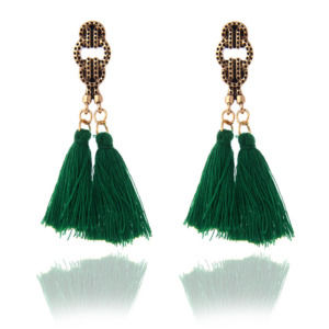 Green Tassel Drop Earring
